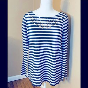 Lilly Pulitzer Navy Blue and White Striped Top Med